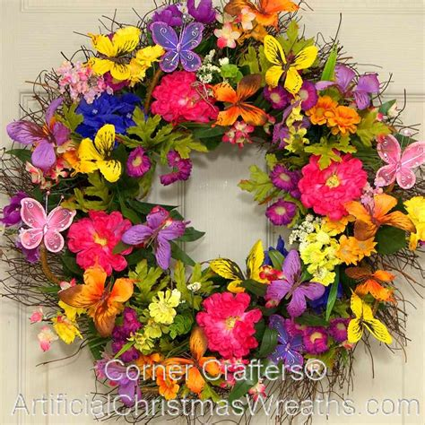 spring wreath spring butterfly wreath artificialchristmaswreaths com