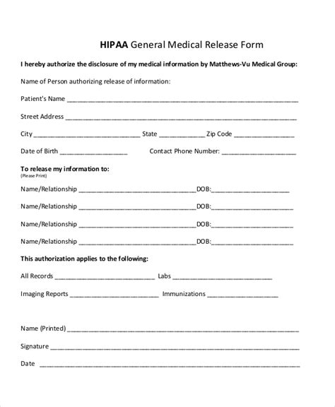 hipaa release form template sle hipaa form 11 free documents in pdf doc