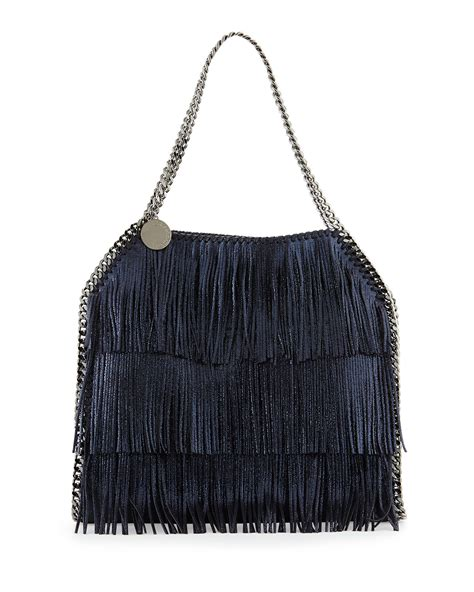 Purse Deal Stella Mccartney Designer Tote by Stella Mccartney Falabella Small Fringe Tote Bag Navy In