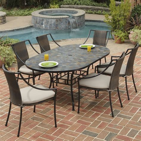Lowes Patio Dining Sets Shop Home Styles 7 Harbor Cushioned Steel Patio Dining Set At Lowes