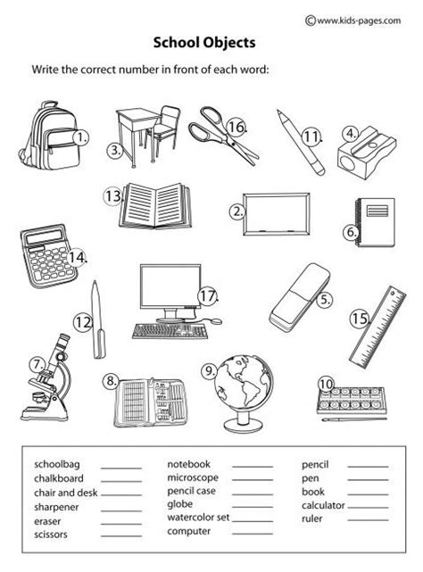 coloring pages for kids classroom objects school objects matching b w worksheets škola pinterest