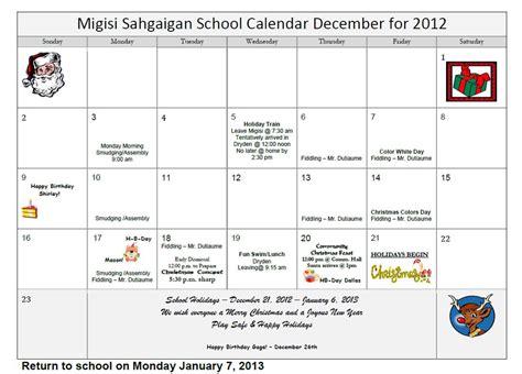December 2012 Calendar Migisi School Calendar December 2012 Eagle Lake
