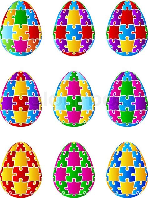 printable easter egg puzzle isolated jigsaw puzzle easter eggs vector stock vector