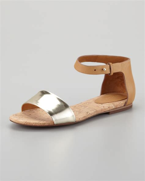 see by sandals lyst see by chlo 233 cork flat sandal in metallic