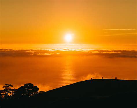 wallpaper sunset mount tamalpais silhouette people
