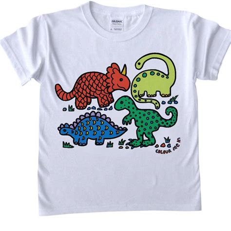 colour in dinosaur childs t shirt by pink pineapple home