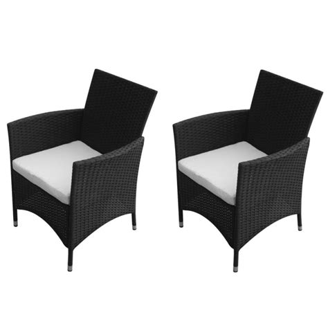 black outdoor dining chairs australia 2x pe rattan wicker outdoor dining chair in black buy