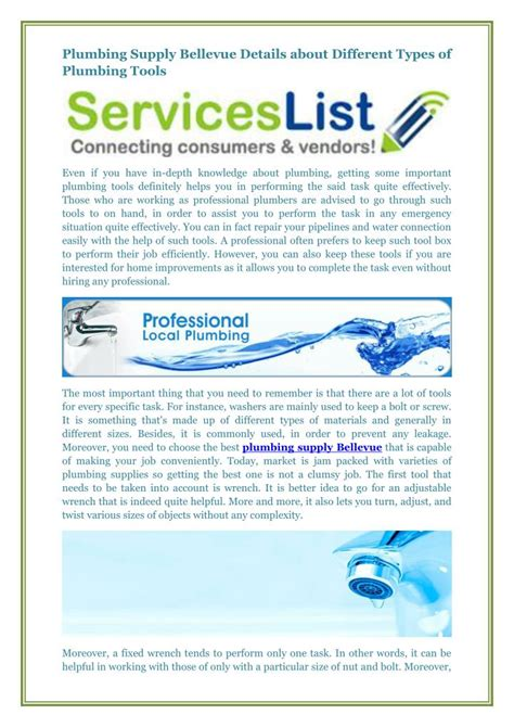 Plumbing Supply Bellevue by Ppt Plumbing Supply Bellevue Details About Different Types Of Plumbing Tools Powerpoint
