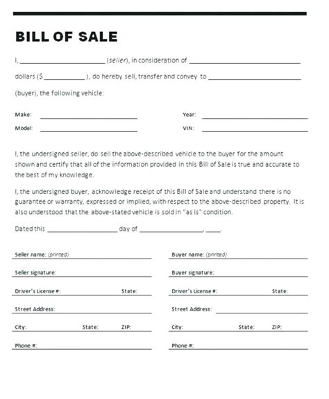 sale of vehicle receipt template receipt of sale of vehicle 6 bill of sale form for car