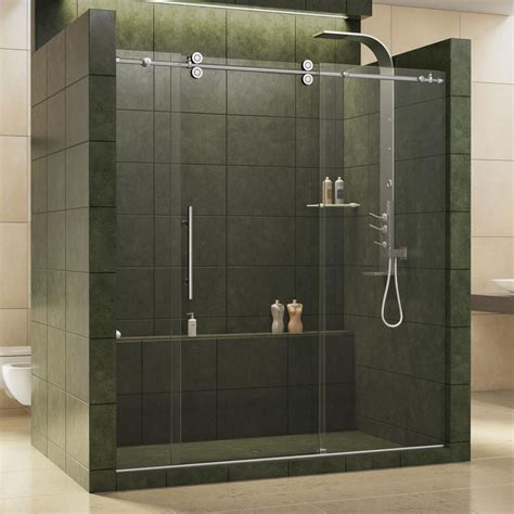Slide Shower Door Basco Deluxe 51 3 8 In X 68 In Framed Sliding Shower Door In Rubbed Bronze 7150 52tor