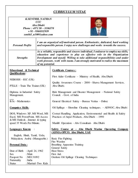 Resume R D Manager Food by Hse Officer Cv