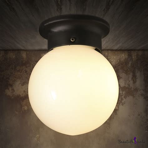 Bathroom Globe Light Single Light Flushmount Ceiling Fixture In White Globe Shape Beautifulhalo