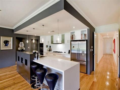 Kitchen Bench Lighting Kitchen Design Idea Bulkhead Covering Entire Kitchen Area With Lights And Feature Pendants