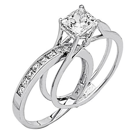 2 ct princess cut 2 engagement wedding ring band set