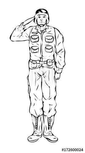 cartoon soldier saluting drawing vector buy  stock