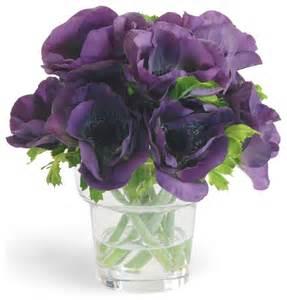 Purple Flower Vase Faux Anemone Arrangement In Vase Traditional
