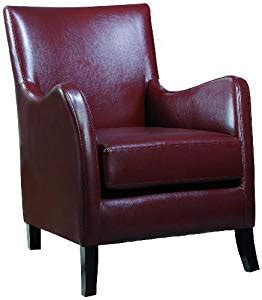 amazoncom monarch specialties red leather  accent chair chairs  living room