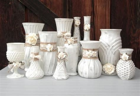 shabby chic burlap and lace cream white vase collection