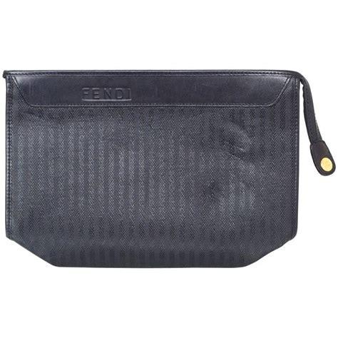 Fendi Clutch Black fendi vintage black stripe coated canvas clutch bag for sale at 1stdibs