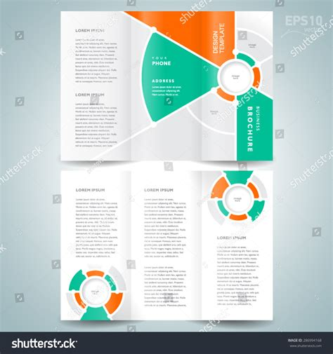brochure design template vector trifold geometric stock