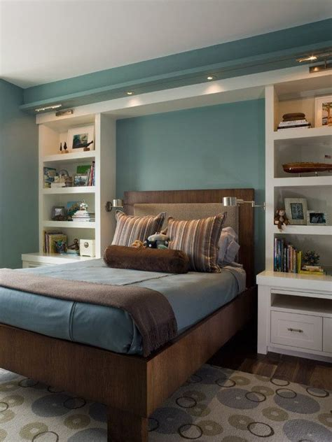 bedroom built in ideas built in bookshelves nightstands around bed decor ideas