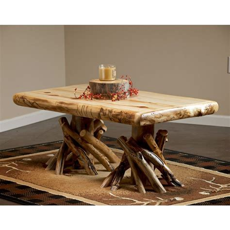 log coffee table rustic peeled aspen log coffee table