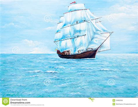 boat ocean drawing boat painting on the ocean royalty free stock image