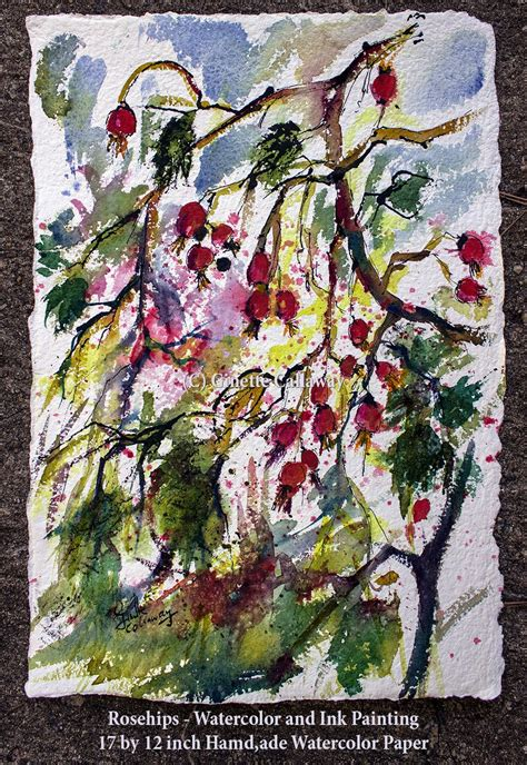 Watercolor Painting On Handmade Paper - original painting hips watercolor handmade paper