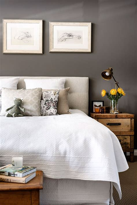 walls white linens rustic nightstand bedrooms gray walls grey walls
