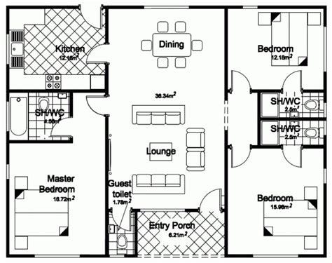 Floor Plans Bungalow Style by 4 Bedroom Bungalow House Designs