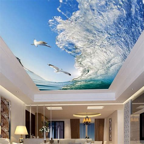 wallpaper design for ceiling custom mural 3d ceiling wallpapers sea waves seagulls