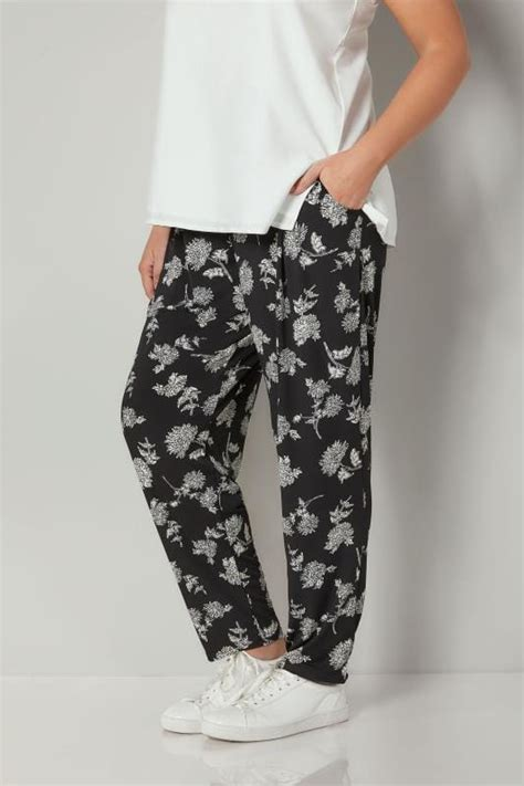 40370 Dress To Give black white floral print harem trousers plus size 16 to 36