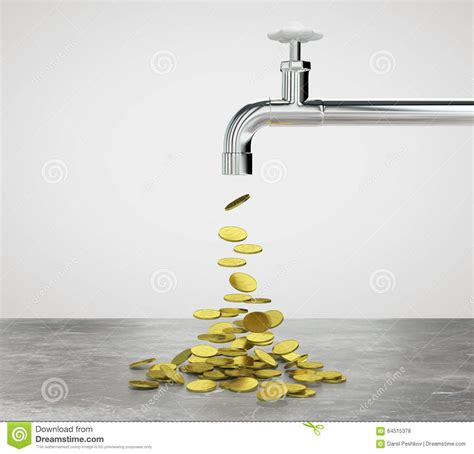 gold coins flow from the faucet stock illustration image