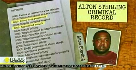 Criminal Offence Record Cbs Report On Shooting Of Alton Sterling Inappropriately Highlights Victim S Record