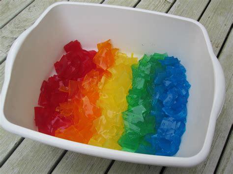 rainbow gelatin sensory tub no time for flash cards