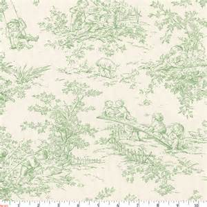 Baby toile sage fabric by the yard green fabric carousel designs
