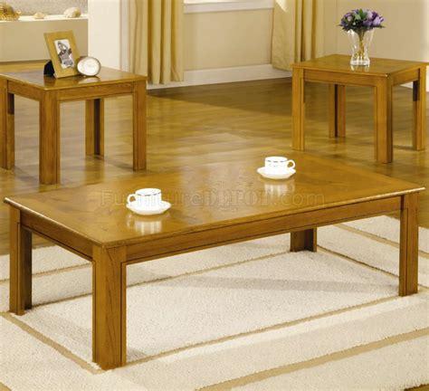 oak finish modern 3pc coffee table set w parquet tops
