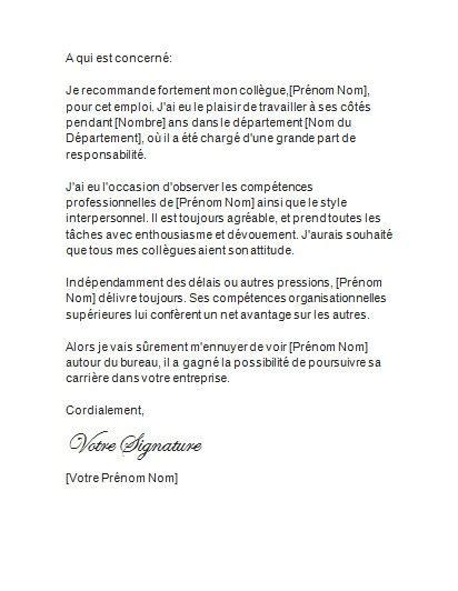 Exemple Lettre De Recommandation exemple lettre de recommandation naturalisation document