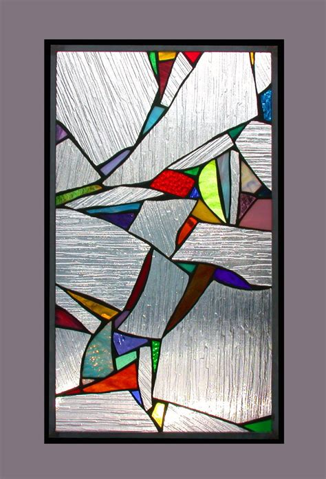 Color Panel Glasses fragments stained glass panel with abstract splashes of color