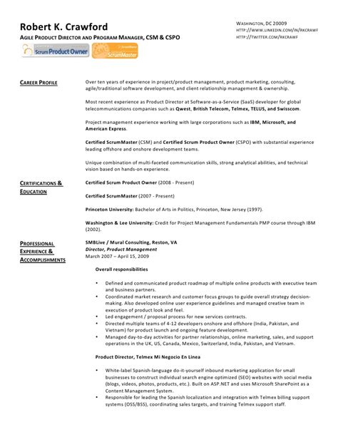 Scrum Business Analyst Resume Sle Robert Web Resume