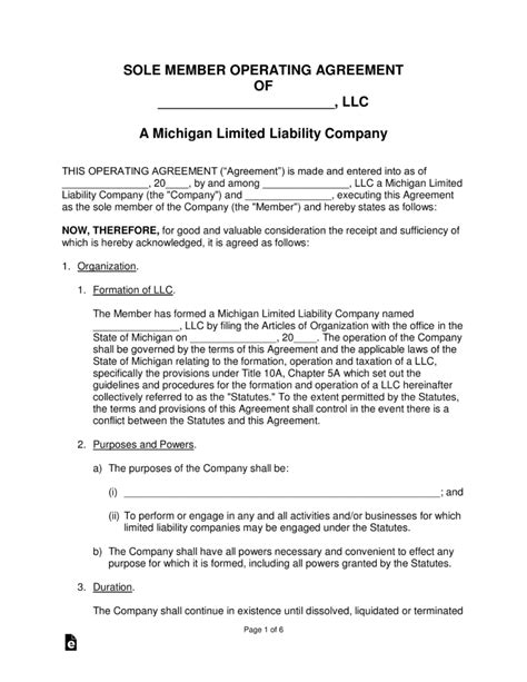 Michigan Single Member Llc Operating Agreement Form Eforms Free Fillable Forms Llc Articles Of Organization Template