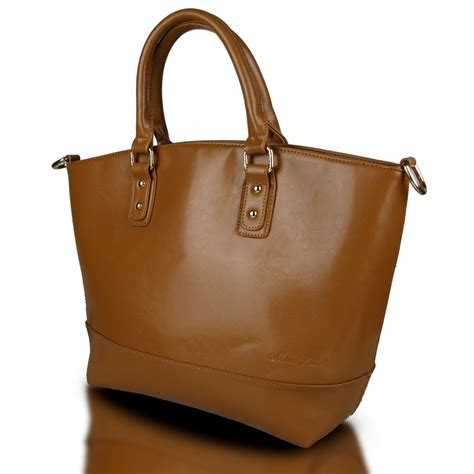Fashion Bag 1110 l1110 miss lulu classic leather look tote handbag brown