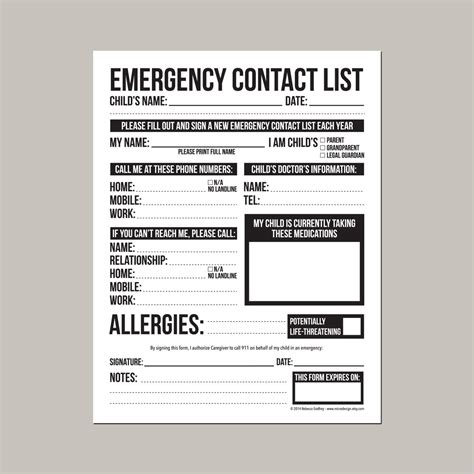 Emergency Contact Card Template Uk by Emergency Contact Form For Nanny Or By