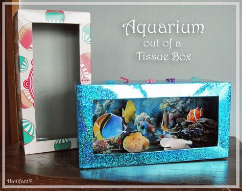 How To Make A Paper Aquarium - tissue box aquarium