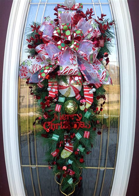big front doors teardrop wreath christmas wreath door