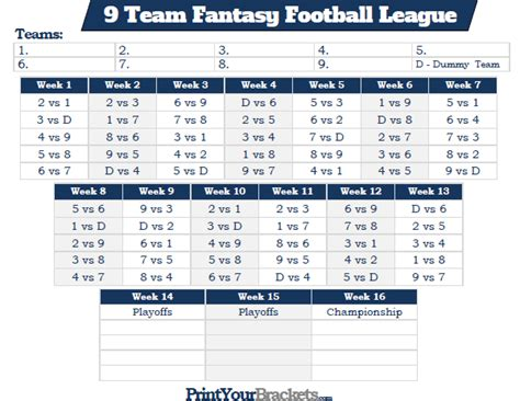 printable nfl league schedule printable 9 team fantasy football league schedule