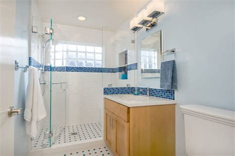 blue white bathroom blue and white bathroom with glass block traditional