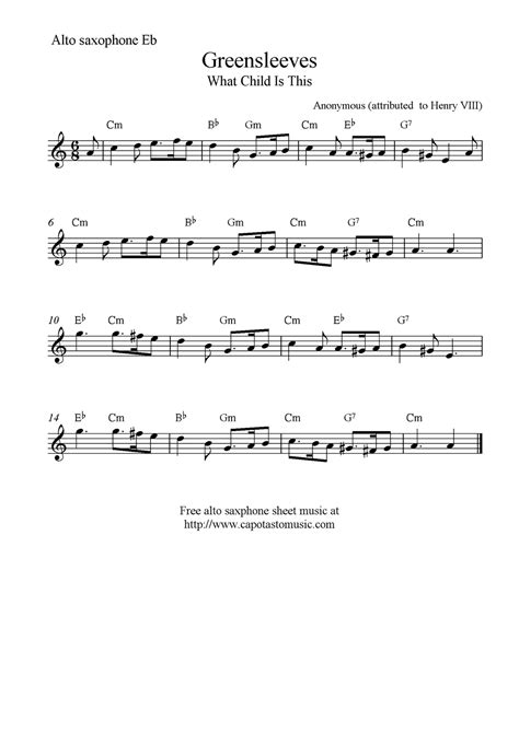 free printable sheet music alto sax greensleeves what child is this free alto saxophone
