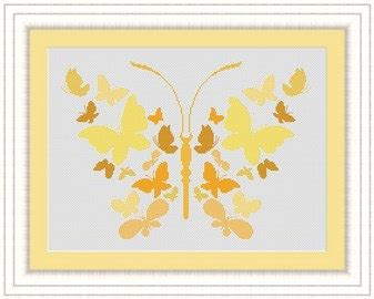 yellow pattern butterfly yellow butterfly papillons counted cross stitch pattern