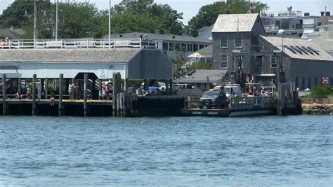 Chappaquiddick Ferry View Of Edgartown Ferry Dock From Chappaquiddick On Martha S Vineyard Stock Footage